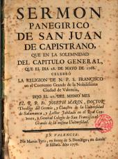 Sermón panegirico de San Juan Capistrano predicado por Fr. Josep Marin en el Convento Grande de San Francisco de la Ciudad de Valencia