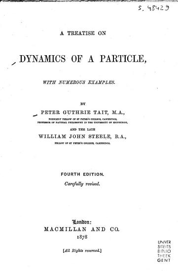 A Treatise on Dynamics of a Particle PDF