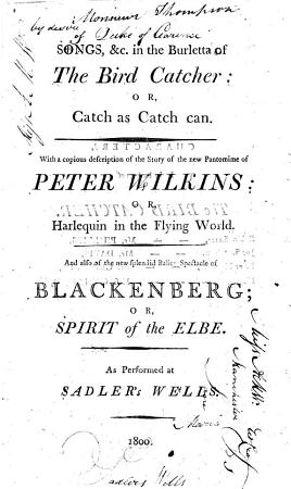 Songs   c  in the Burletta of The Bird Catcher  Or  Catch as Catch Can PDF