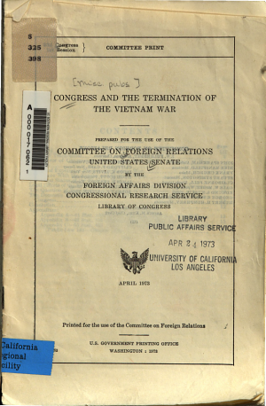 Congress and the Termination of the Vietnam War PDF