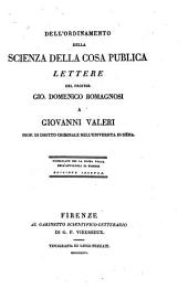 Dell'ordinamento della scienza della cosa publica: lettere a Giovanni Valeri