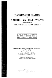 Passenger Fares on American Railways: Also on Those of Great Britain and Germany