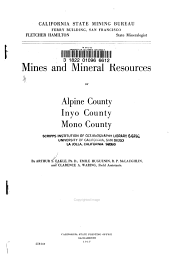 Mines and Mineral Resources of Alpine County, Inyo County, Mono County
