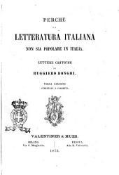 Perché la letteratura italiana non sia popolare in Italia lettere critiche di Ruggiero Bonghi