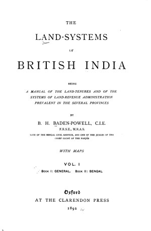 The Land Systems of British India  book 1  General  book 2  Bengal