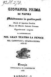 Giovanna prima di Napoli. Melodramma in 4 parti. Musica di Antonio Granara
