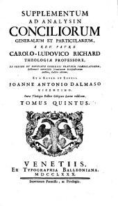 Supplementum ad analysin [sic] conciliorum generalium et particularium