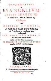 Commentarius in Evangelium ... secundum Matthaeum