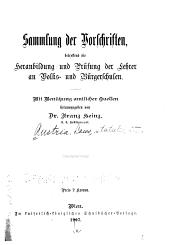 Sammlung der Vorschriften betreffend die Heranbildung und Prüfung der Lehrer an Volks- und Bürgerschulen