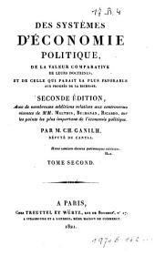 Des systèmes d'économie politique, de la valeur comparative de leurs doctrines ...