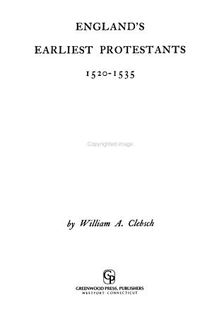 England's Earliest Protestants, 1520-1535