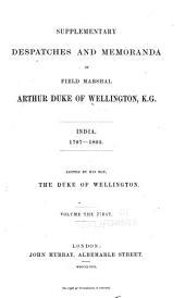 Supplementary despatches and memoranda of Field Marshal Arthur, duke of Wellington, K. G.