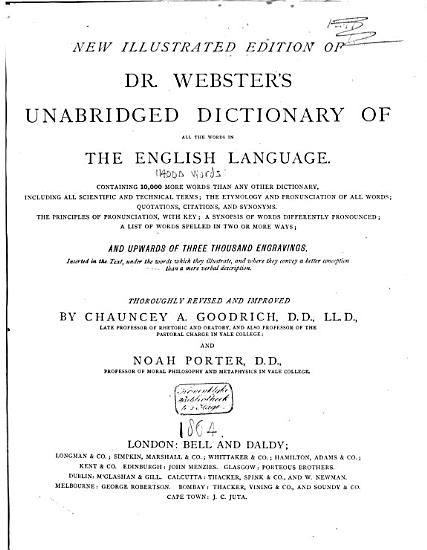 New Illustrated Edition of Dr  Webster s Unabridged Dictionary of All the Words in the English Language PDF