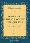 Allgemeine Literatur Zeitung Vom Jahre 1795  Vol  3 PDF
