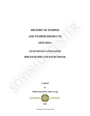 History of Tempeh and Tempeh Products  1815 2011