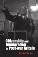 Citizenship and Immigration in Postwar Britain PDF