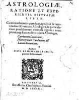 Astrologiae Ratione Et Experientia Refutatae Liber     PDF