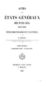 Actes des États généraux des Pays-Bas 1576-1585: Notice chronologique et analytique, Volume6