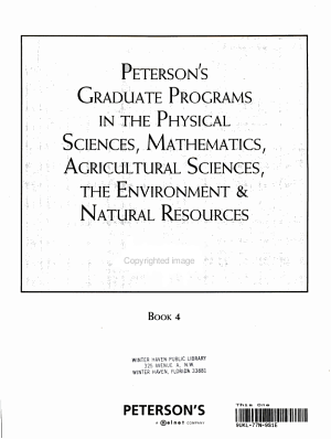 Graduate Programs in the Physical Sciences  Mathematics  Agricultural Sciences  the Environment  and Natural Resources 2009 PDF