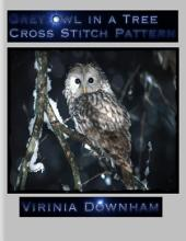 Grey Owl in a Tree Cross Stitch Pattern