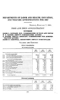 Departments of Labor and Health  Education  and Welfare Appropriations for 1967 PDF