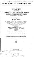 Social Security Act Amendments of 1949  Public assistance and public welfare PDF