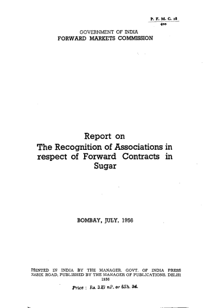 Report on the Recognition of Associations in Respect of Forward Contracts in Sugar PDF