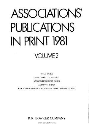 Associations' Publications in Print