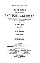 Materials for Translating English Into German: Part 1