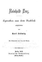 Lyrisches aus dem Nachlass aufgefunden von Karl Ludwig
