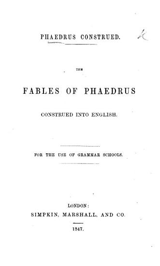 Ph  drus  Construed  The Fables of Ph  drus Construed Into English PDF