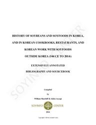 History of Soybeans and Soyfoods in Korea  and in Korean Cookbooks  Restaurants  and Korean Work with Soyfoods outside Korea PDF