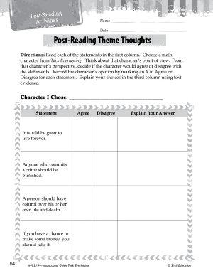 Tuck Everlasting Post Reading Activities