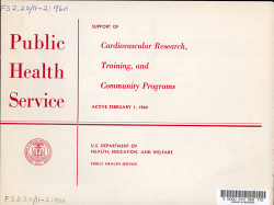 Public Health Service Support of Cardiovascular Research  Training  and Community Programs PDF