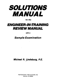 Solutions Manual for the Engineer in training Review Manual