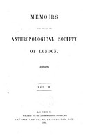 Memoirs Read Before the Anthropological Society of London PDF