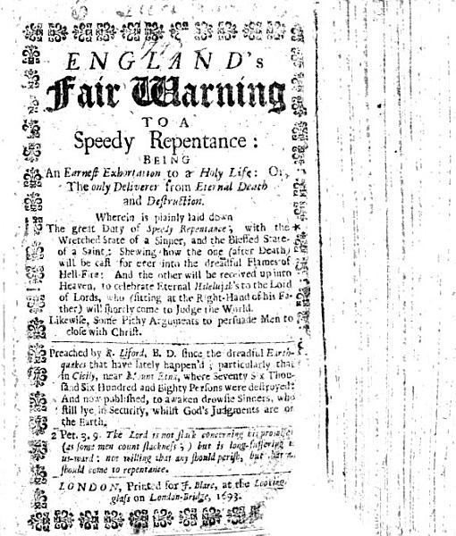 Download England s fair warning to a speedy repentance  being an earnest exhortation to a holy life  a sermon on Luke xiii  5  preached by R  Liford since the dreadful earthquakes that have lately happen d  etc Book