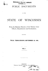 Public Documents of the State of Wisconsin: Volume 1