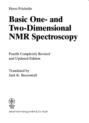 Basic One  and Two Dimensional NMR Spectroscopy PDF