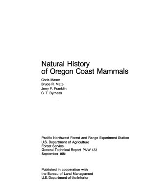 Natural History of Oregon Coast Mammals