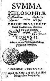 SVMMA PHILOSOPHIAE.: Primam partem Physicae, seu octo libros Physicorum complectens. TOMVS II.