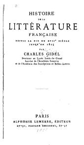 Histoire de la littérature française depuis la fin du XVIIe siècle jusqu'en 1815
