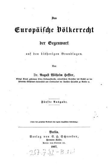 Das    Europ  ische V  lkerrecht der Gegenwart auf den bisherigen Grundlagen PDF