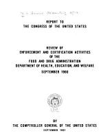 Review of Enforcement and Certification Activities of the Food Drug Administration, Department of Health, Education, and Welfare, September 1960
