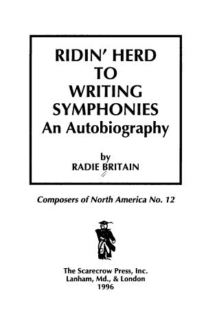 Ridin' Herd to Writing Symphonies