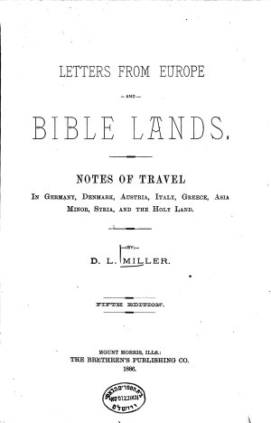 Letters from Europe and Bible Lands