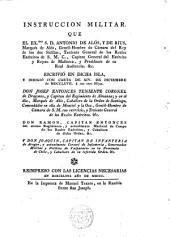 Instrucción Militar escrita por --- Capitán General del Ejército y Reyno de Mallorca...
