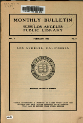 Monthly Bulletin of the Los Angeles Public Library
