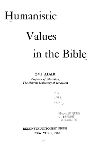Humanistic Values in the Bible
