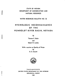 Hydrologic Reconnaissance of the Humboldt River Basin  Nevada PDF